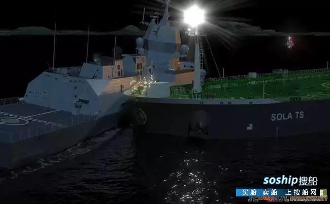 火花四溅 挪威媒体公开宙斯盾舰撞船现